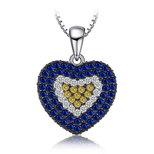 JewelryPalace Love Heart 1.4ct Created Blue Spinel Created Sapphire Cluster Pendant 925 Sterling Silver