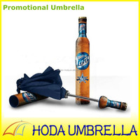 2015 promotional gift beer wine bottle shape 3 selection umbrella with branded logo