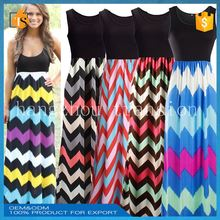 wholesale cheap summer sleeveless rainbow striped woman long dress