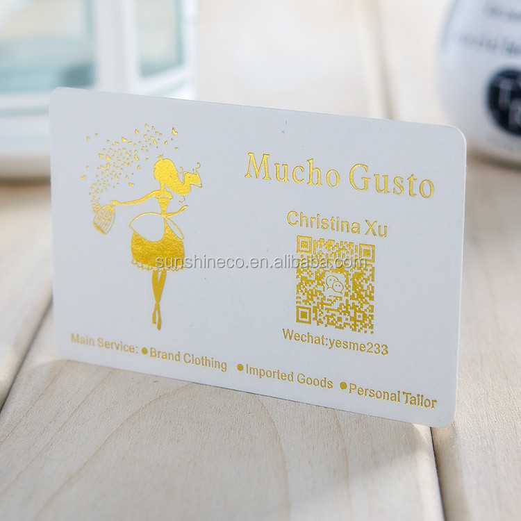 Personalized custom business card imported cotton paper embossed corrugated gold foil
