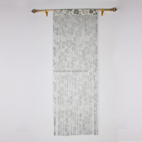 Black and white flowers string curtain drapes