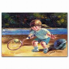 Famous beach children playing tennis oil painting on canvas from photo