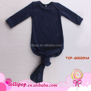 Boutique Newborn Clothing 0-24M Baby Night Gown Christening Picture of Latest Gown Designs Infant Navy Boy Baby Knotted Gown
