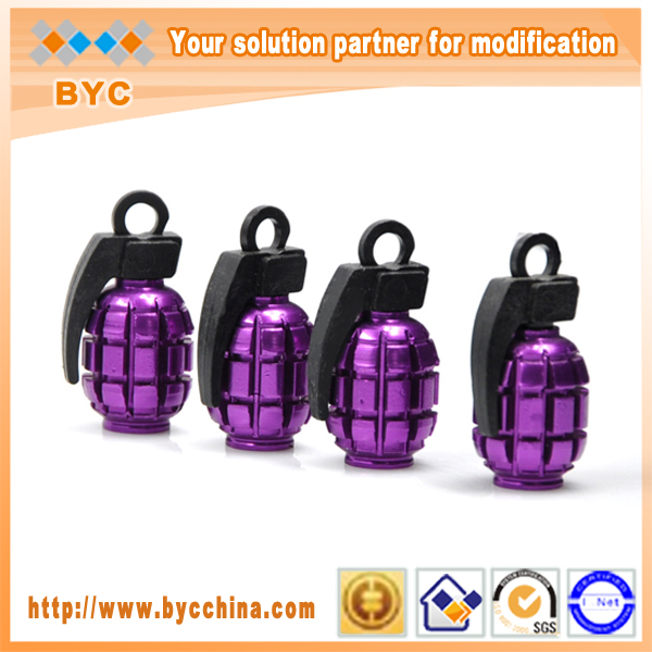 BYC Purple Grenade Car Tire Valve Caps, Car Parts