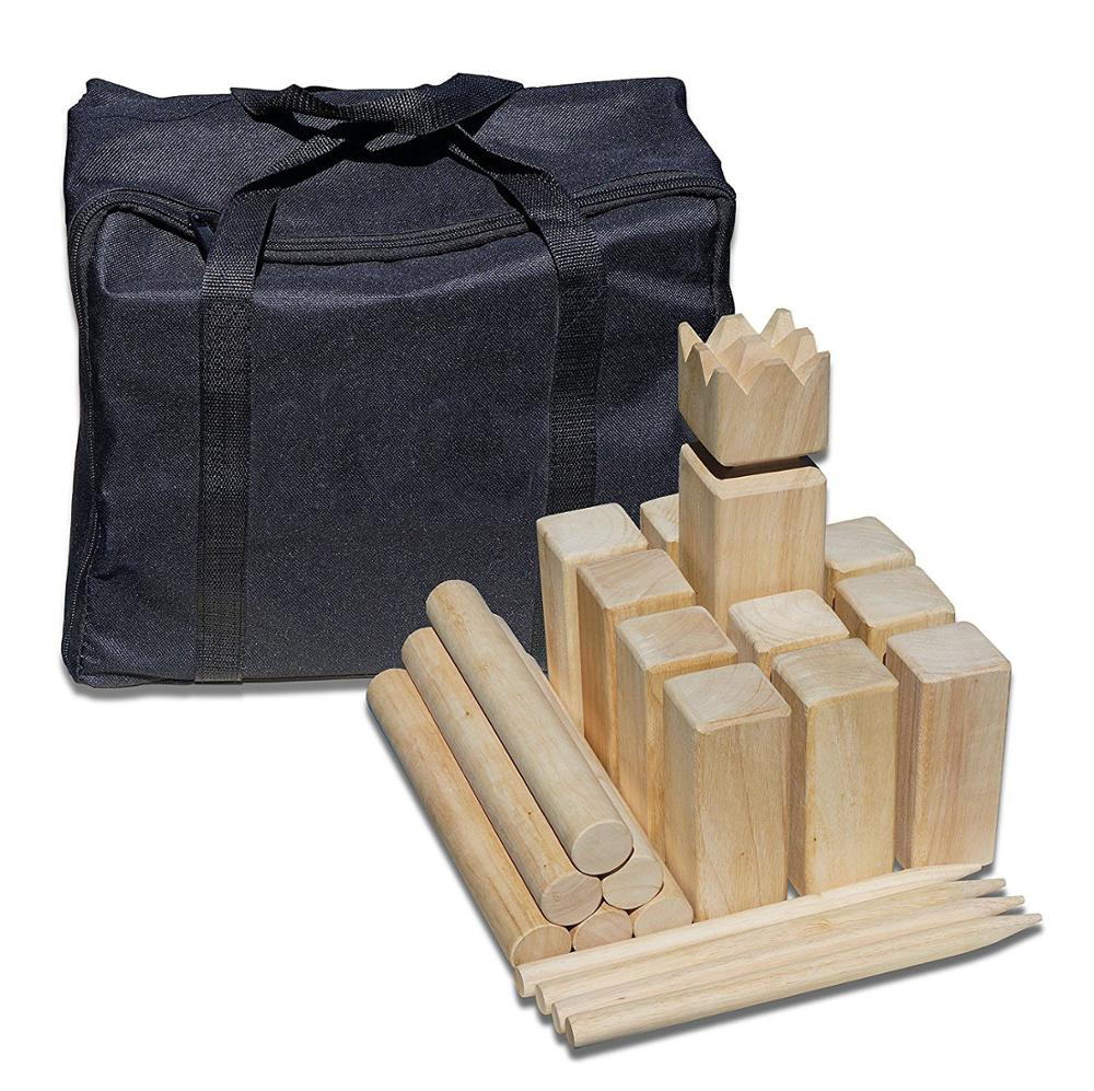 Kubb Set Yard Game Set for Adults, Families - Fun, Interactive Outdoor Family Games - Durable Wood Blocks with Travel Ba