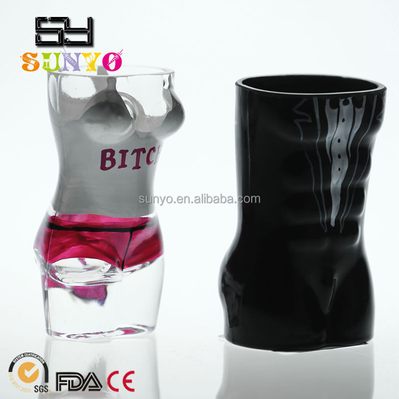 Wholesale sodalime human body shaped leadfree crystal manufacture shot whisky glass customized size