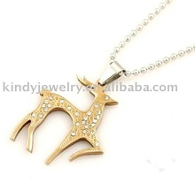 fashion deer shape rhinestones animal pendant necklace jewelry