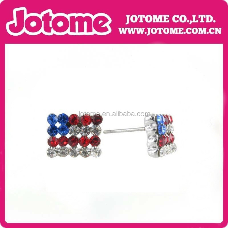 Patriotic American Flag Colored Crystal Diamond Rhinestone Stud Earrings
