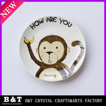 New design cute ceramic plate. Cartoon dish. Animal pattern plate.