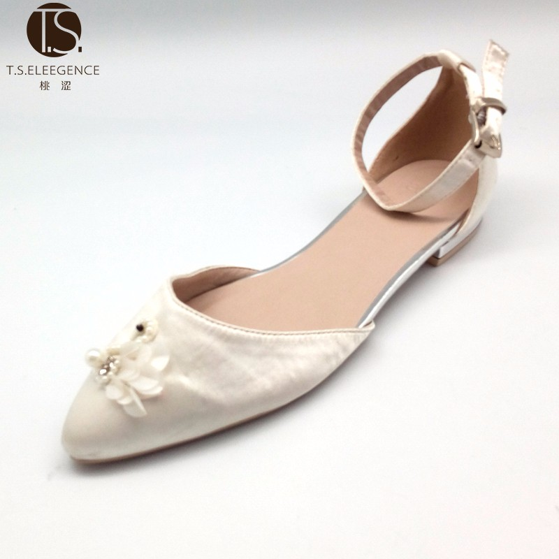 2017 New Design Goose Decorated Satin Pointed Women Ballet Flat Shoes
