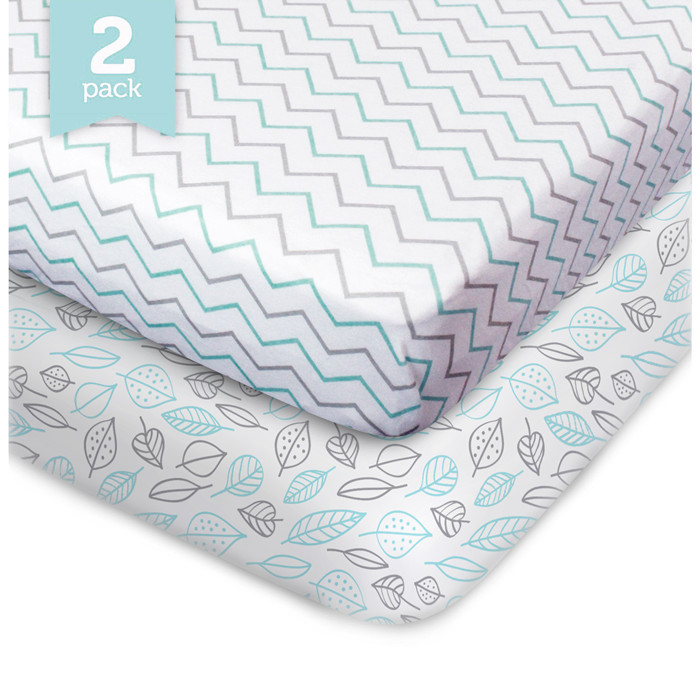 2 Pack Fitted Crib Sheet-100% Organic Crib Sheet ,Fit Standard Crib Mattress