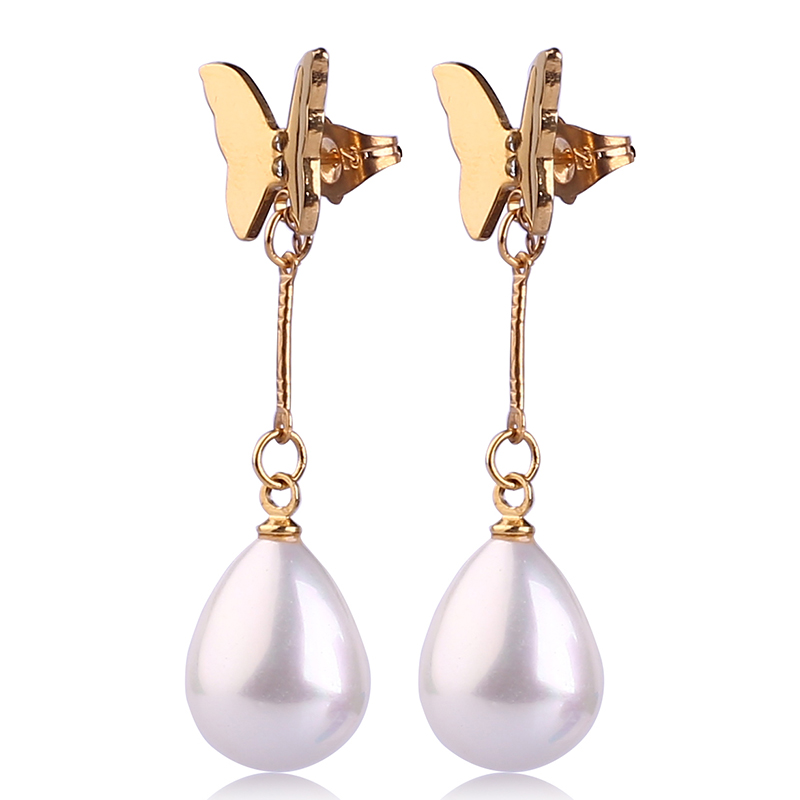 2016 Fancy jewelry gold plated Butterfly Design fashion pearl earrings for party girls