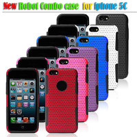Hard armor robot pc shockproof mesh combo phone case for iphone 5c case