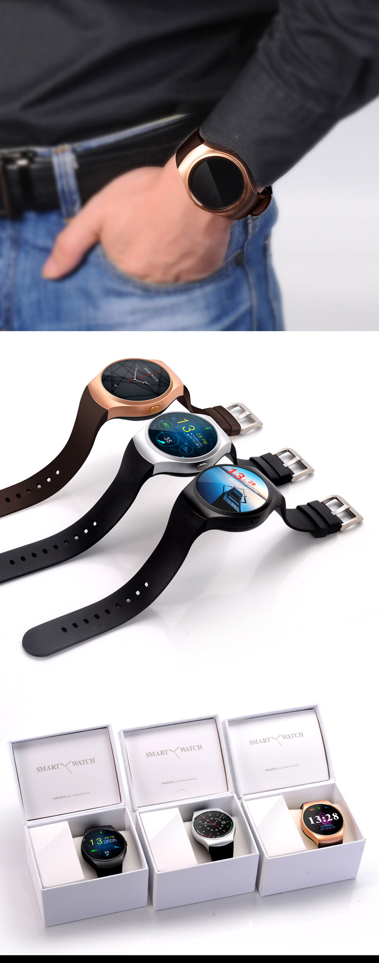 Phone calling 1.3inch screen micro-sd slot gt88 smart watch