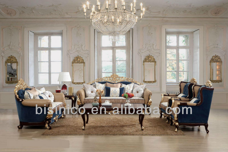 Classic European Royal Design SofaLuxury Wood Carved Sofa SetLiving Room Furniture