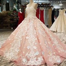 LS12441 real luxury strapless dress party evening dresses from dubai pink long party lace dresses