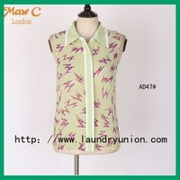 2012 New ladies high collar printed designer blouses pictures AD47#