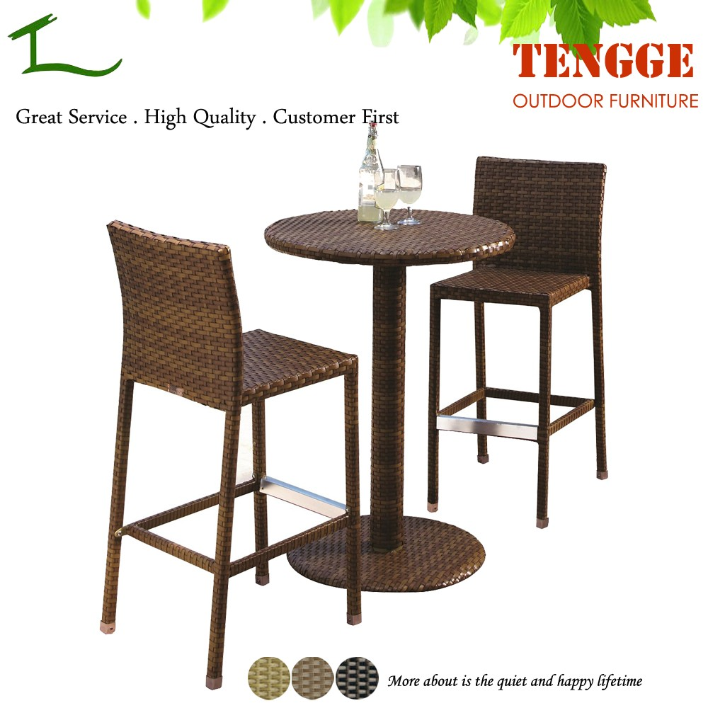 3 Pieces Outdoor Bistro Furniture Rattan High Tables And