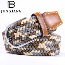 Mens Designer Belts Mens Leather Braided Elastic Stretch Cross Buckle Casual Golf Belt Waistband From Belt Factory