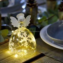 Led glass angel table decorative light up glass angel for christmas holiday
