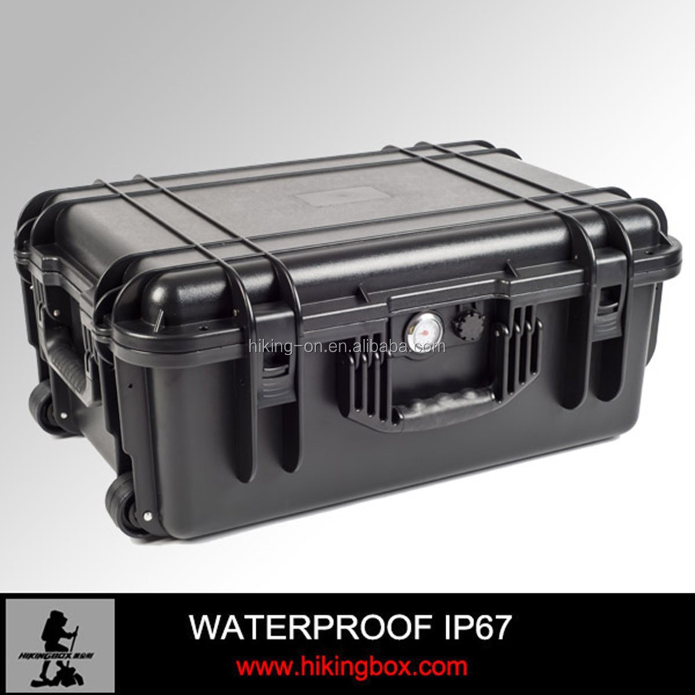 China supplier hard watertight plastic tool case with wheels&handle&air barometer