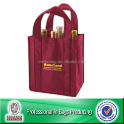 100% Recycled non woven 6 bottle wine bag with dividers