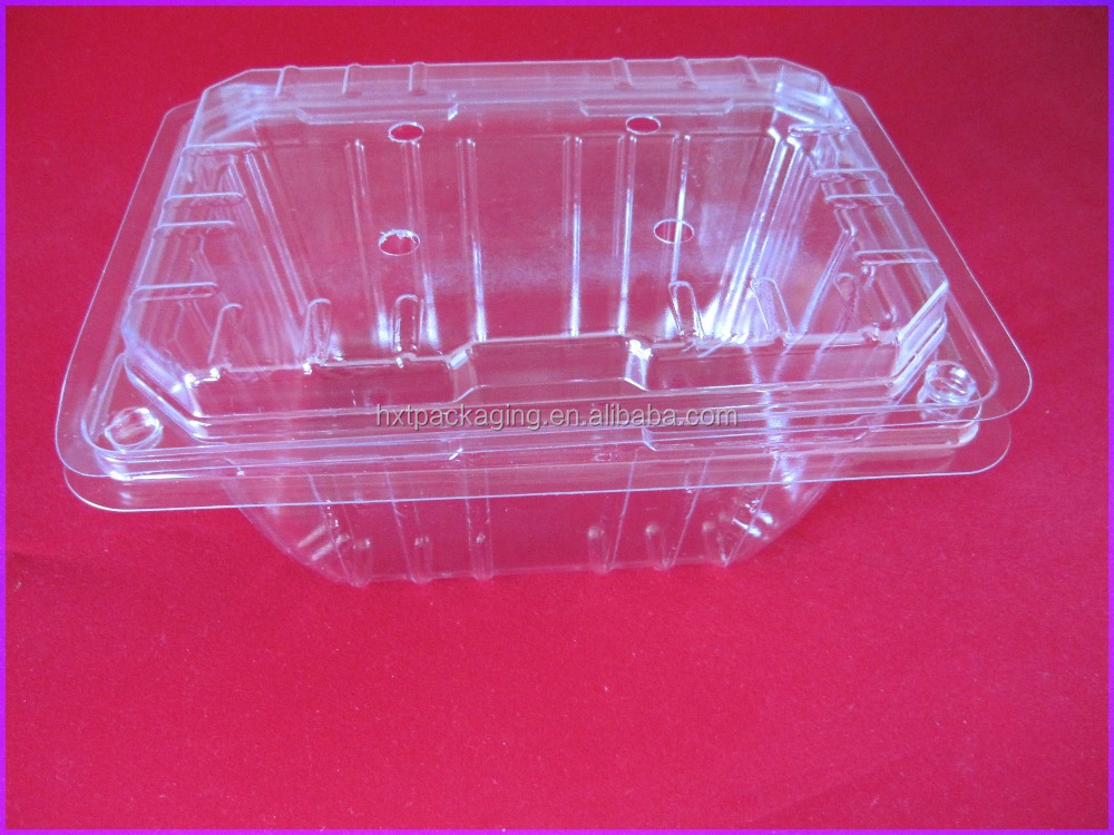 Whole sale PET vegetable plastic container with lid