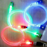 Wohlesale USB cable 4 Colors Newest with Visible LED Light USB Cable for iPhone 5 5s 5c iPod Pad Sumsang HTC mp3 USB charger