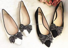 bow design casual flat women shoes and ladies shoes branded shoes copy