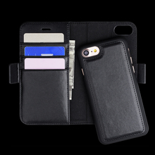 Double back cover cell phone case for iphone 7 stand wallet leather case for iphone