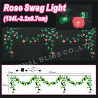 artifical flower led garland outdoor christmas swag lights