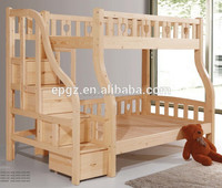Modern Furniture Environmental Solid Wood Canopy Kids Twin Bunk Beds with Stairs