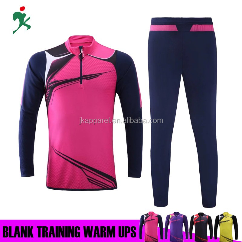 2017 new design soccer wear custom blank football warm ups long sleeve jacket and long pants training suit