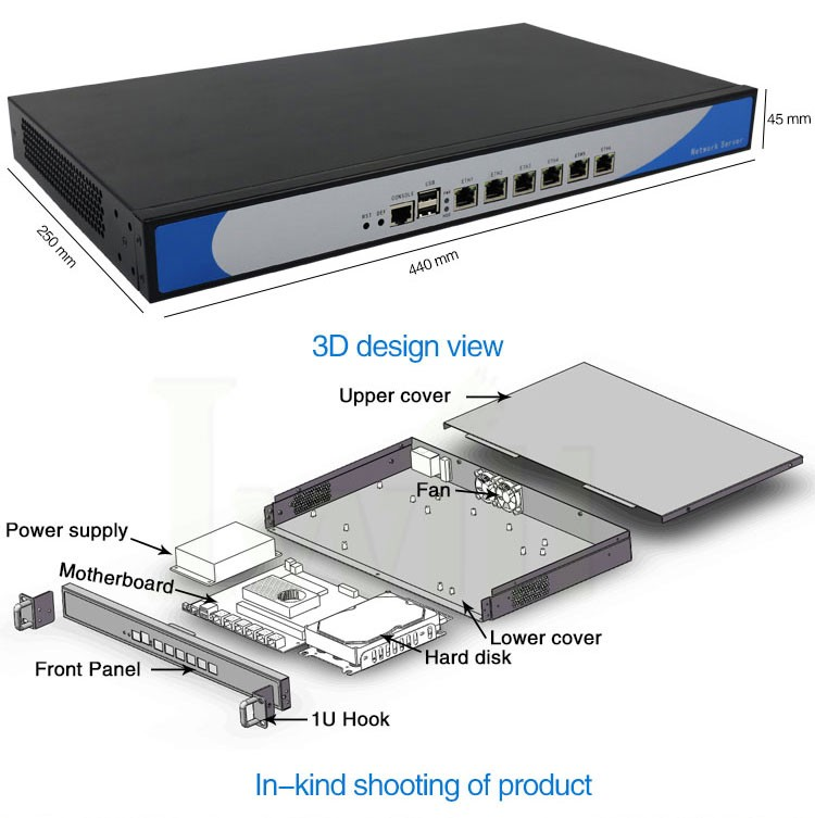 Intel Celeron 1037U Dual Core 6 LAN Rack Mount Server 1U Firewall