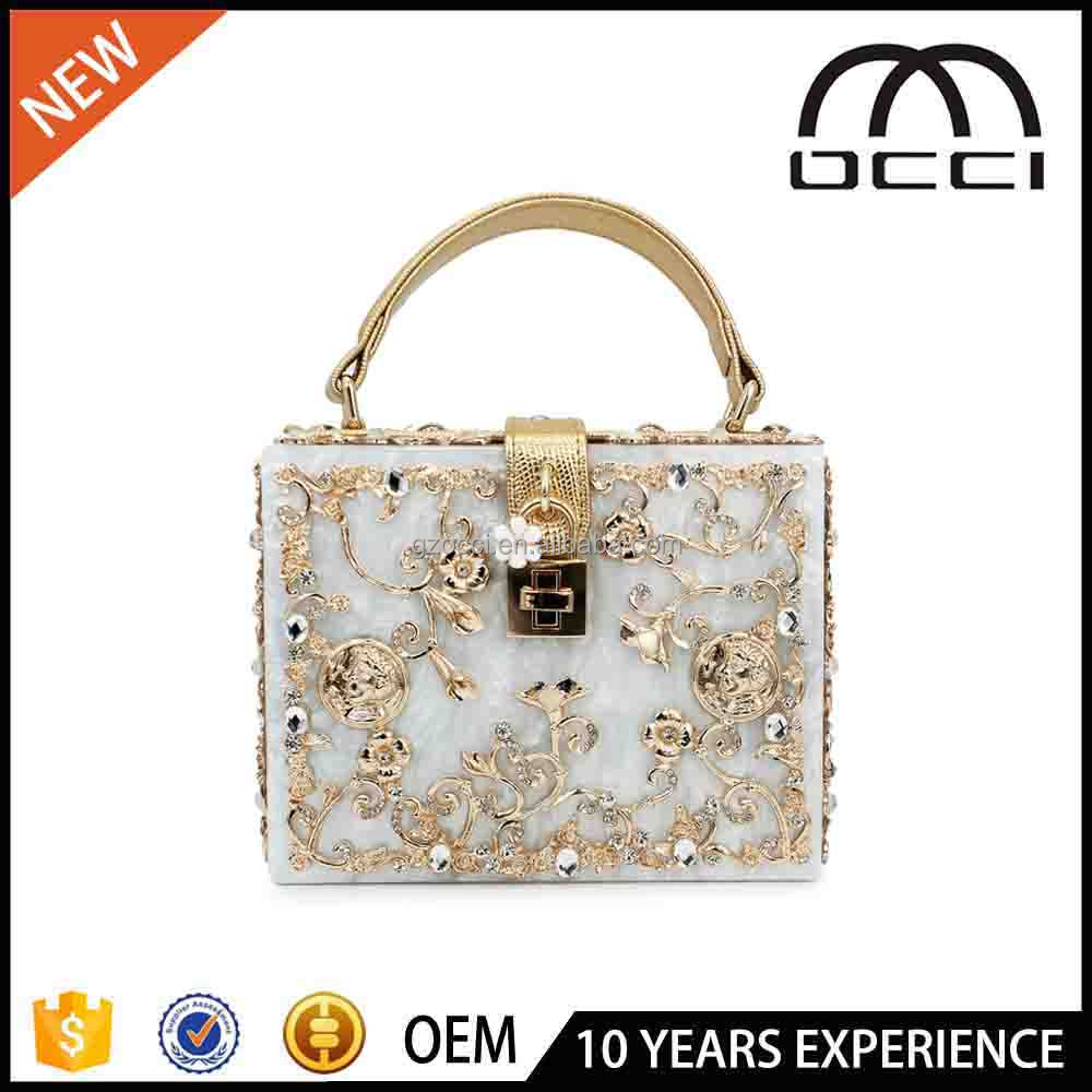 Hight Quality Acrylic Balloc Lock Luxury Handbag Evening Bag Clutch For Party Purse SC2346
