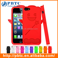 Set Screen Protector And Case For Iphone 5 , Colorful Silicone Cute Cartoon Mobile Phone Cover