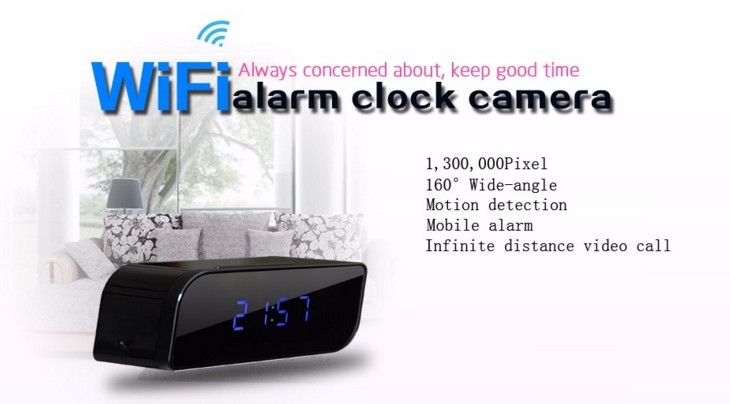Night Vision HD 1280x720P Mini Clock WiFi Camera for Your Phones Mini DVR (T16 wifi)