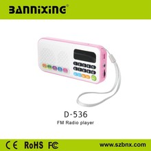 Portable full form of fm radio with dual TF Card fashion appearance design