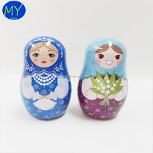 High quality long duration time irregular matryoshka doll shape metal tin box for gift/candy wholesale