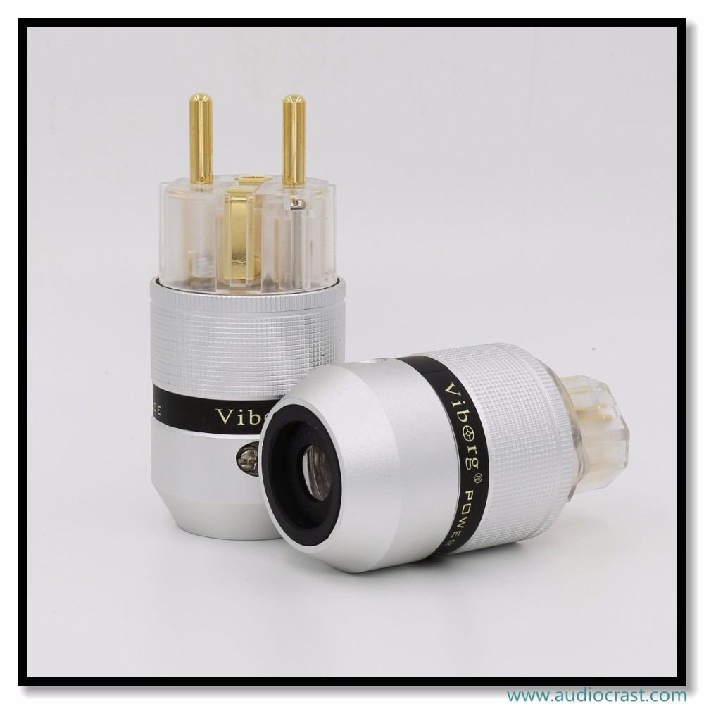 OEM/ODM Viborg Audio Aluminum Gold Plated Schuko EU Power Plug+IEC Female Audio Connector