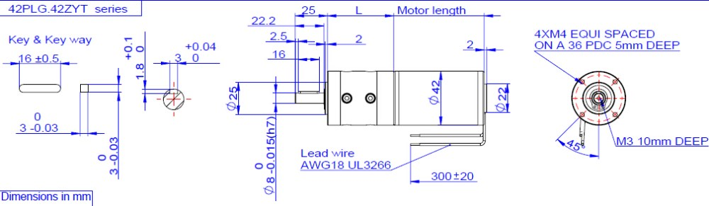 42mm dc planetary gearhead motor, rated torque upto 15N.m