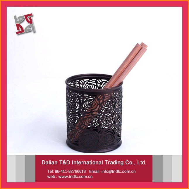Innovation Embossing Colorful Cheap Rose Pattern Pen Holder For Office Colored Pencil Organizer
