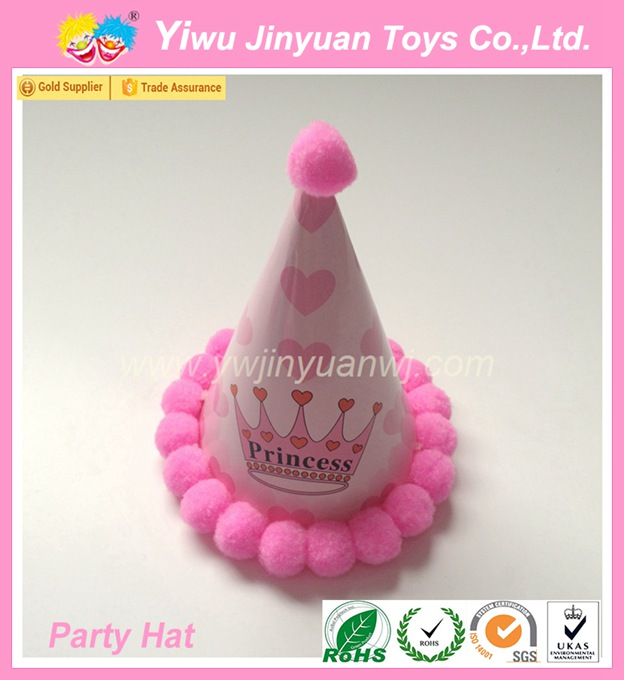 Pink coated crown printed happy birthday paper hats