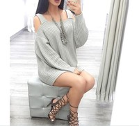 S31499A European Street Style Sweet Off Shoulder Knitted Sweater Young Ladies Loose Fashion Sweater
