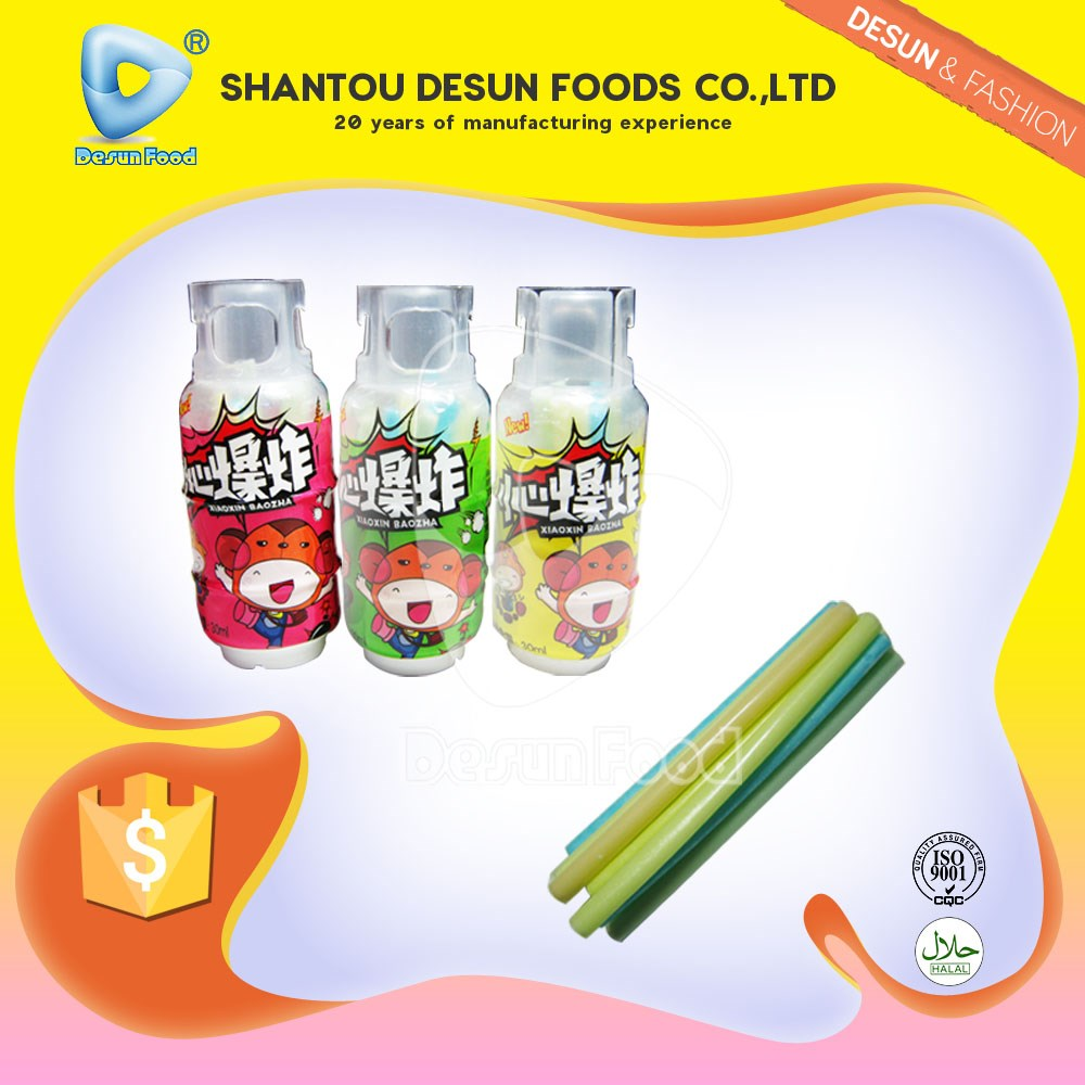 CC straw candy in gas jar bottle