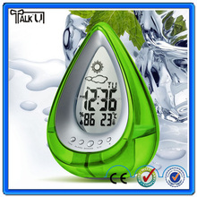 High quality mini digital table alarm clock/triangle water power table alarm clock/weather station Desk Table alarm Clock