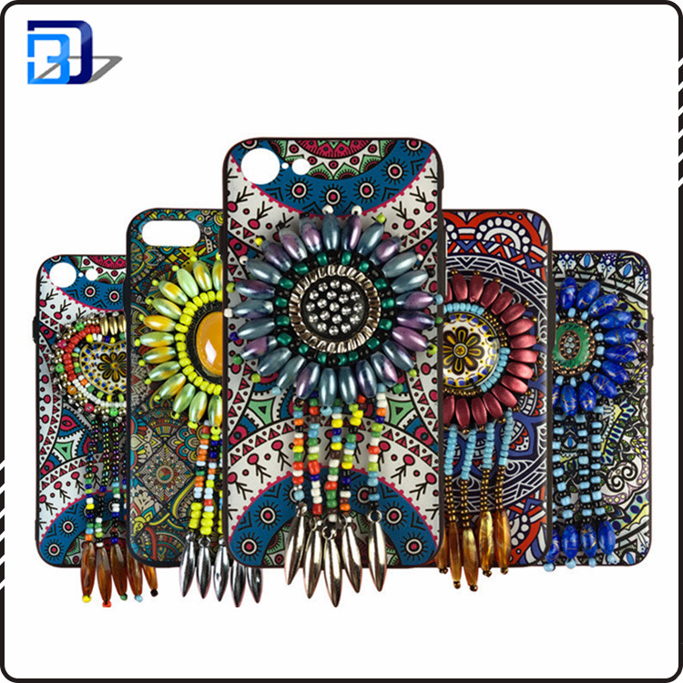 NEW National style jewelry Bead work mobile phone case for iPhone 8, 8 Plus