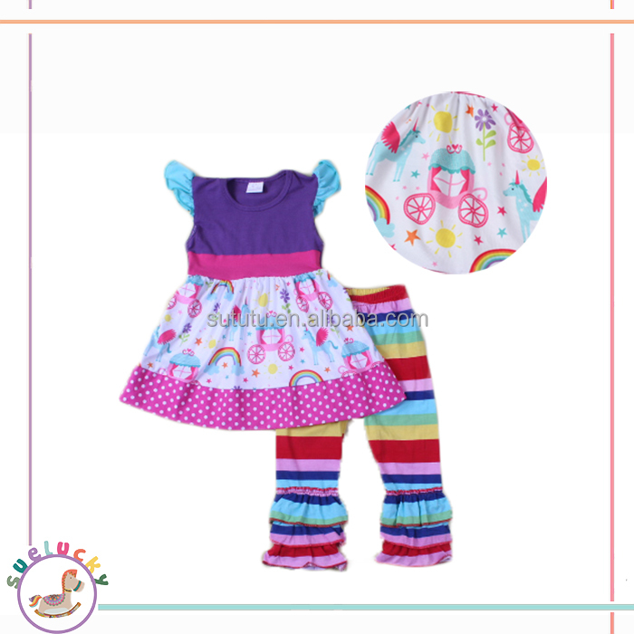 matching 100% cotton knitted kids clothes rainbow stripe icing pants flutter sleeve top child modeling clothing set