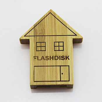Custom Bamboo Wooden House shaped USB 2.0 Memory Flash Stick Pen Drive