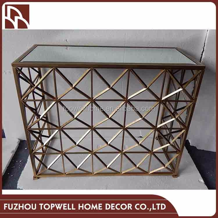 Gold Geometric Pattern Wrought Iron Dressing Table